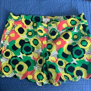 Multi floral colored scalloped mid length shorts
